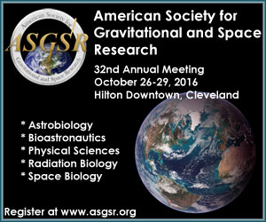 32nd Annual Meeting of the American Society for Gravitational and Space Research will be held from October 26-29, 2016.