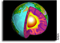 Earth's core rotating faster than rest of the planet but slower than previously believed