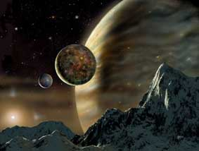 The image shows an impression by David A. Hardy of the possible scene from a moon orbiting the extra-solar planet in orbit around the star HD70642.