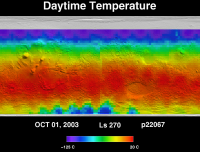 Orbit 22067 daytime surface temperature map