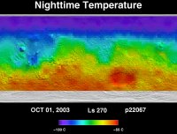 Orbit 22067 nighttime surface temperature map