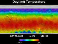 Orbit 22115daytime surface temperature map