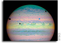 NASA Hubble Space Telescope Spots Rare Triple Eclipse on Jupiter