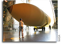 NASA Space Shuttle External Tank Slated to Fly Next Spring Ready for Foam Spray