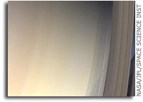 Strings of Shadowy Rings Drape Saturn