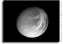 Dione Image: Crisscrossing Streaks