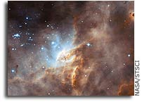 Hubble studies sequences of star formation in neighbouring galaxy