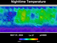 Orbit 24683nighttime surface temperature map