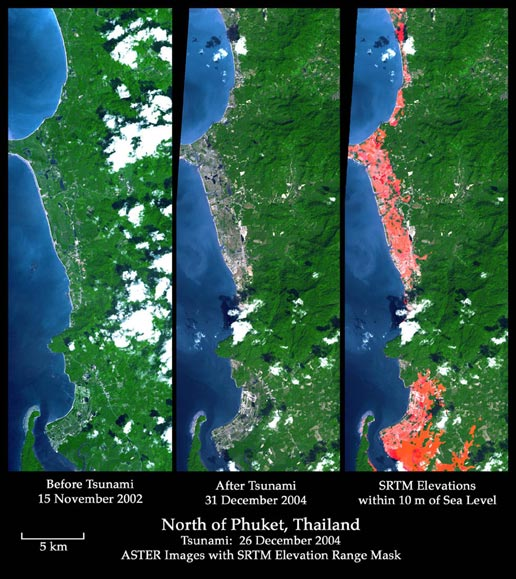 Phuket, Thailand on Dec. 31, 2004 and 2 years before tsunami, along with elevation data