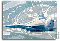 NASA Photos of US Air Force F-15 Eagle Jetfighters Providing Air Cover Over Kennedy Space Center