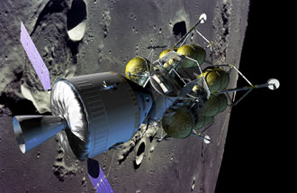 Crew Exploration Vehicle with solar arrays deployed, docked to lunar lander