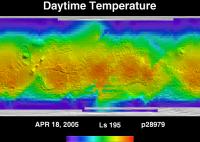 Orbit 28979daytime surface temperature map