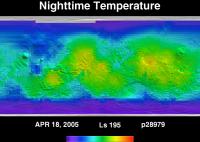 Orbit 28979nighttime surface temperature map