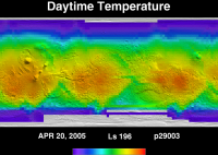 Orbit 29003daytime surface temperature map