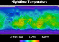 Orbit 29003nighttime surface temperature map