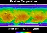 Orbit 29015daytime surface temperature map