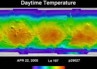 Orbit 29027daytime surface temperature map