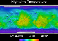 Orbit 29027nighttime surface temperature map