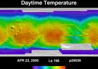 Orbit 29039daytime surface temperature map