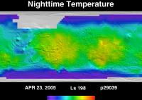 Orbit 29039nighttime surface temperature map