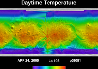 Orbit 29051daytime surface temperature map