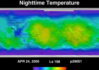 Orbit 29051nighttime surface temperature map