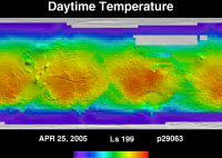 Orbit 29063daytime surface temperature map