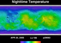 Orbit 29063nighttime surface temperature map