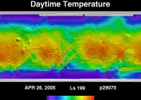 Orbit 29075daytime surface temperature map