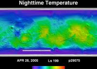 Orbit 29075nighttime surface temperature map
