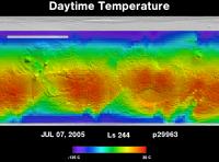 Orbit 29963daytime surface temperature map