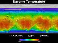 Orbit 29975daytime surface temperature map