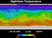 Orbit 29975nighttime surface temperature map