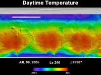 Orbit 29987daytime surface temperature map