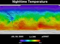 Orbit 29987nighttime surface temperature map