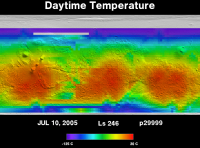 Orbit 29999daytime surface temperature map