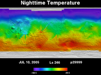 Orbit 29999nighttime surface temperature map