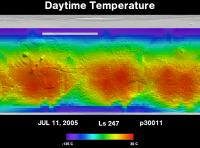Orbit 30011daytime surface temperature map