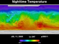Orbit 30011nighttime surface temperature map