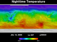 Orbit 30023nighttime surface temperature map