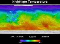 Orbit 30035nighttime surface temperature map