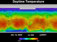 Orbit 30047daytime surface temperature map