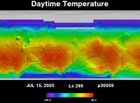 Orbit 30059daytime surface temperature map
