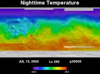 Orbit 30059nighttime surface temperature map