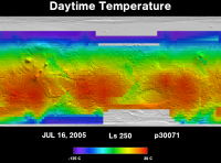 Orbit 30071daytime surface temperature map