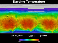 Orbit 30083daytime surface temperature map