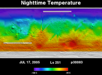Orbit 30083nighttime surface temperature map