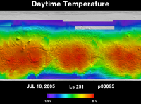 Orbit 30095daytime surface temperature map