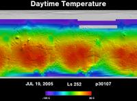 Orbit 30107daytime surface temperature map