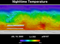 Orbit 30107nighttime surface temperature map